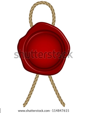Illustration of red wax seal - stock photo