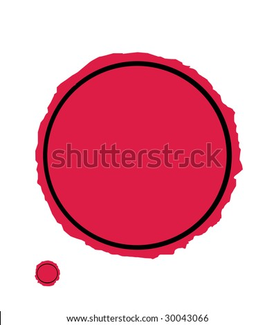 Illustration of red wax seal isolated on white background with copy space.
