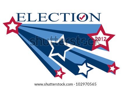 illustration of red whits and blue star burst with the words election 2012 - stock photo