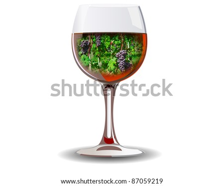 Illustration of red wine glass with grape clusters inside isolated over white background - stock photo