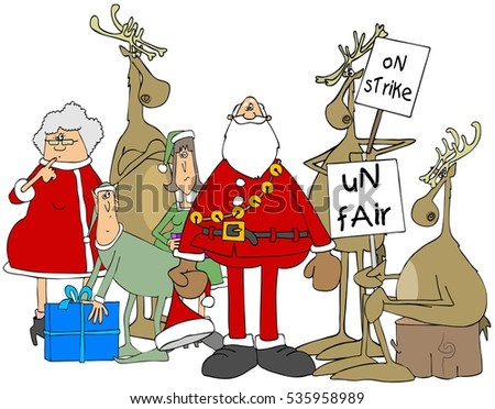 Illustration of reindeer holding picket signs with Santa, Mrs. Claus and two elves look on.
