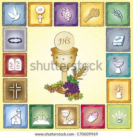 illustration of religion card with icons - stock photo
