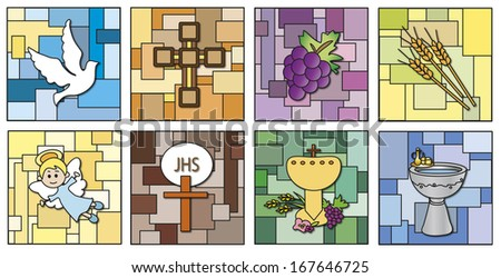 illustration of religion icons isolated - stock photo