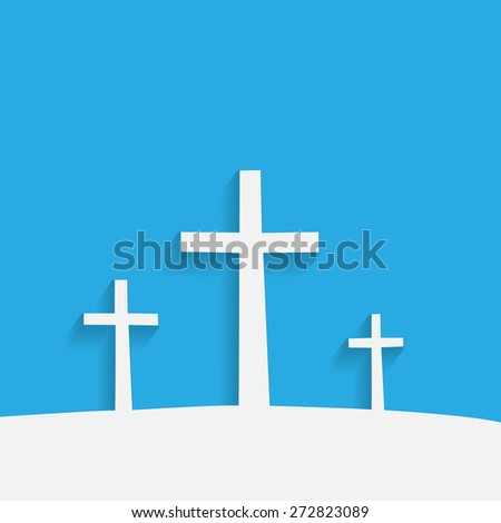 Illustration of religious crosses against a colorful background. - stock photo