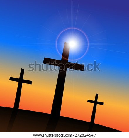 Illustration of 3 religious crosses against a colorful sky background. - stock photo