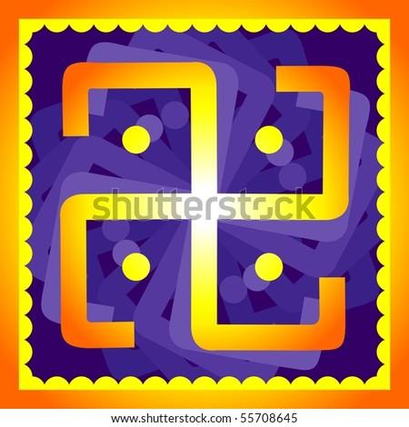 Illustration of religious icon with design work - stock photo