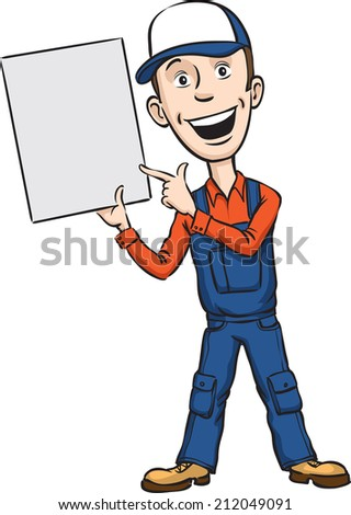 illustration of repairman speaking pointing at blank placard