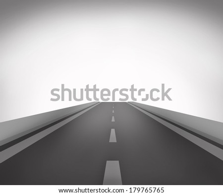 Illustration of road ahead isolated on background - stock photo