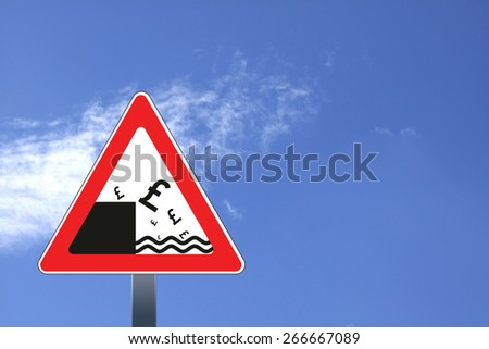 Illustration of road sign with British pound currency decline concept   - stock photo