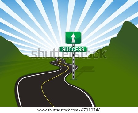 Illustration of road to success. - stock photo