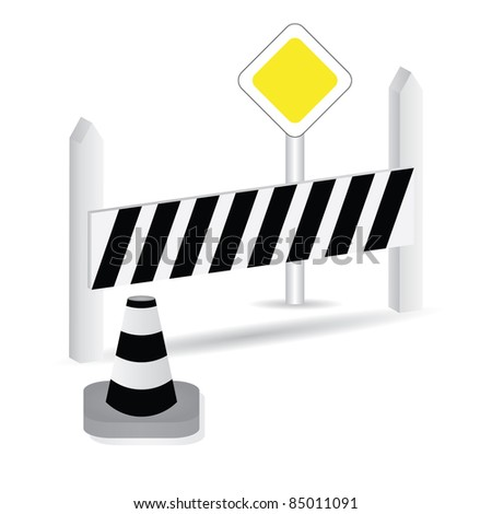 Illustration of road traffic signs and barriers - stock photo