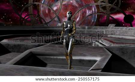 Illustration of Robot Invasion through the Space Gate - stock photo