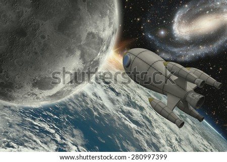 Illustration of rocket flying to the moon- 3D Render - Maps courtesy of Nasa at http://earthobservatory.nasa.gov/IOTD/view.php?id=885 - stock photo