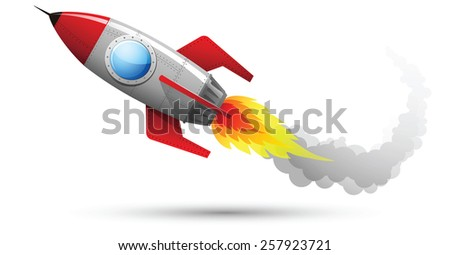 Illustration of Rocket Flying with fire and smoke - stock photo