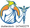 Illustration of Roman god Mercury patron of financial gain, commerce, communication and travelers wearing winged hat holding caduceus a herald's staff with entwined snakes inside circle retro style. - stock photo
