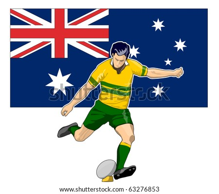illustration of Rugby player kicking ball front view with Australia flag in background - stock photo