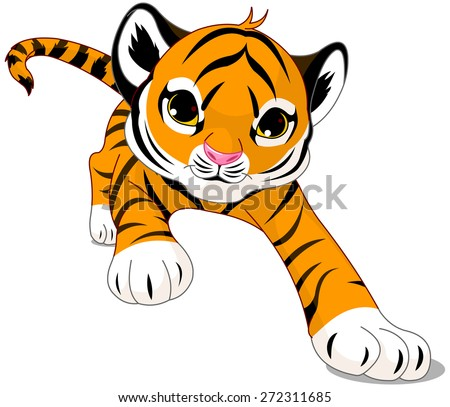 Illustration of running cute baby tiger - stock photo