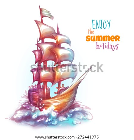 Illustration of sail ship with label. - stock photo