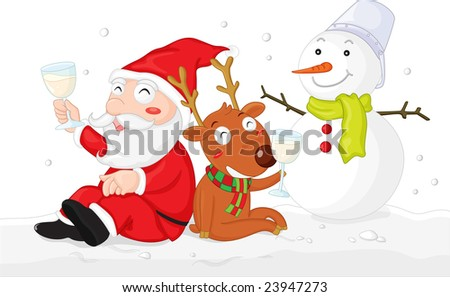 Illustration of santa and rudolph having a drink - stock photo