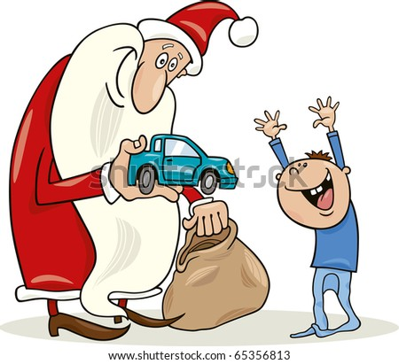 illustration of santa claus giving toy car to happy little boy - stock photo