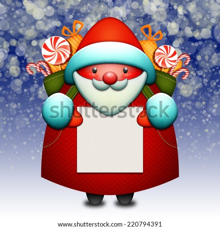 illustration of Santa Claus holding a white sheet