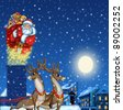 Illustration of Santa Claus on the roof with gifts - stock photo