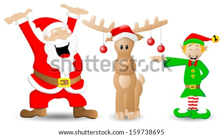 illustration of santa claus, reindeer and christmas elf on white