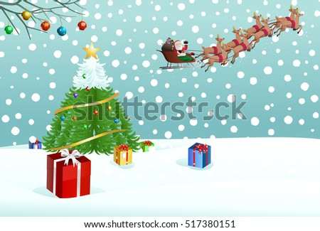 illustration of santa claus riding his sleigh putting gift on snow near christmas tree background