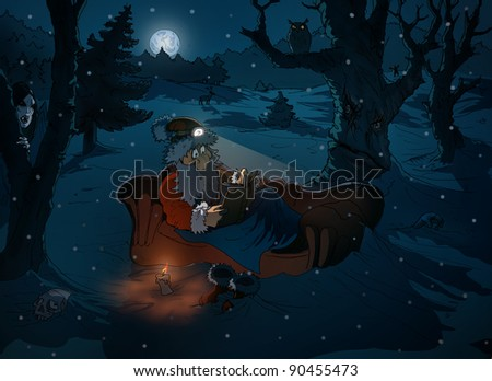 Illustration of santa claus sitting on a sofa in winter night reading a book