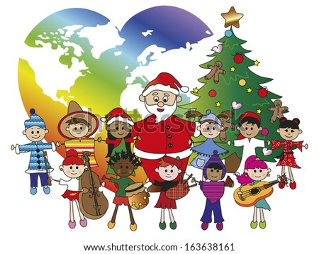 illustration of santa claus with children - stock photo