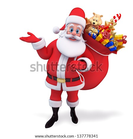 illustration of santa claus with gifts