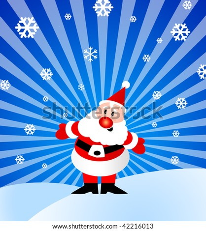 Illustration of Santa Claus with some snow flakes - stock photo