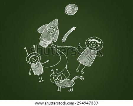 Illustration of School Kids. - stock photo