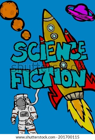 Illustration of science fiction characters like space and planets - stock photo