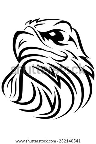 illustration of sea eagle head  tribal art on isolated white background - stock photo