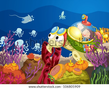 illustration of sea turtle carrying kids in water