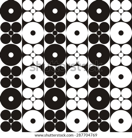 Illustration of seamless abstract black-and-white pattern with circles. Raster version - stock photo