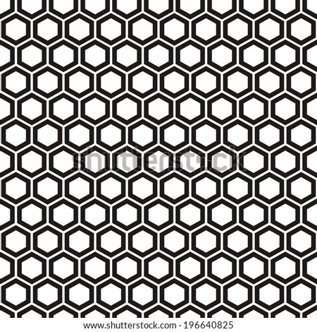 Illustration of seamless geometric black-and-white pattern with honeycombs. Raster version