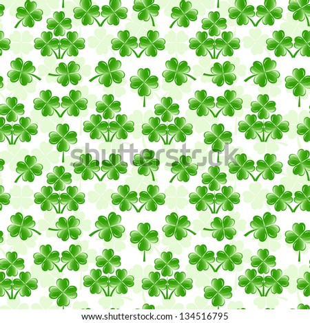 illustration of seamless pattern with four leaves clover - stock photo