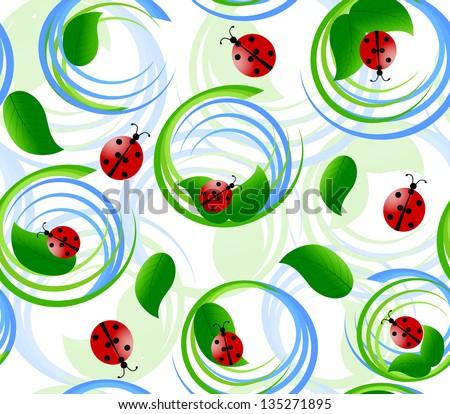 illustration of seamless pattern with ladybug - stock photo