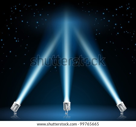 Illustration of searchlights or spotlights pointing into the night sky