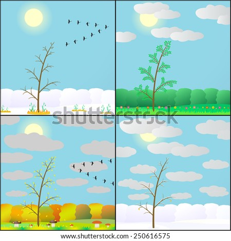 illustration of seasons in the forest. - stock photo
