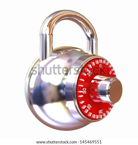 Illustration of security concept with chrome locked combination pad lock