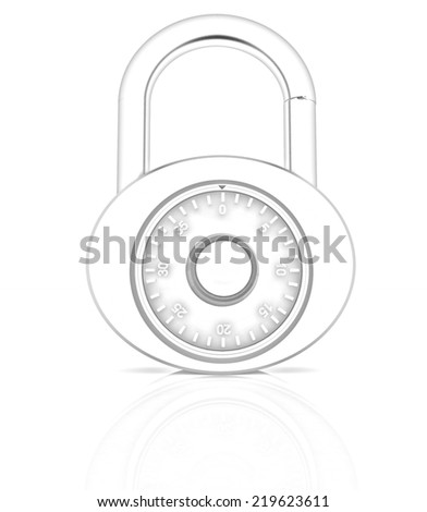 Illustration of security concept with chrome locked combination pad lock on a white background. Pencil drawing