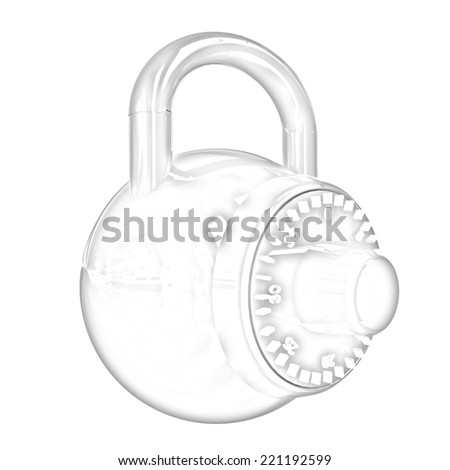 Illustration of security concept with glossy locked combination pad lock on a white background. Pencil drawing