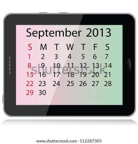 illustration of september 2013 calendar framed in a tablet pc. - stock photo