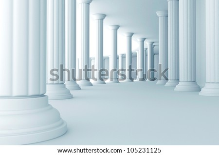 illustration of series of pillars in corridor - stock photo