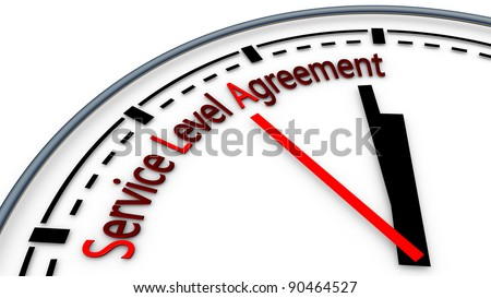 Illustration of Service-level agreement using clock concept - stock photo