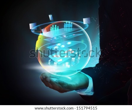 Illustration of Service Oriented layered Architecture and global business in a business hands and this represents how the SOA technology emerging in addressing agility in business needs - stock photo