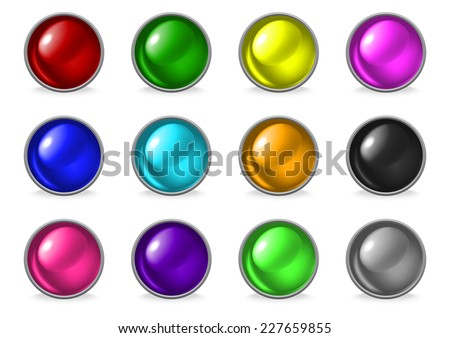 Illustration of set of abstract colorful glossy buttons isolated